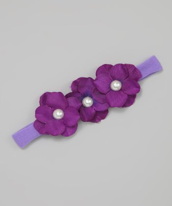 Purple Triple Hydrangea Headband