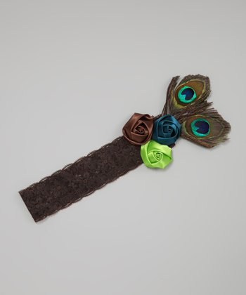 Brown Peacock Rosette Headband