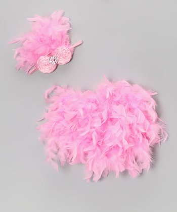 Pink Feather Bloomers & Headband - Infant