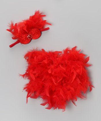 Red Feather Bloomers & Headband - Infant
