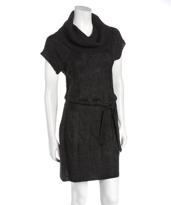 Charcoal Cowl Neck Tie-Waist Wool-Blend Sweater Dress
