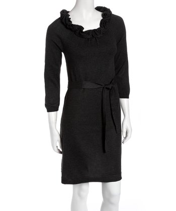 Charcoal Ruffle Tie-Waist Sweater Dress