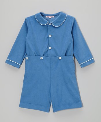 French Blue Corduroy Button-Up & Shorts - Infant, Toddler & Boys