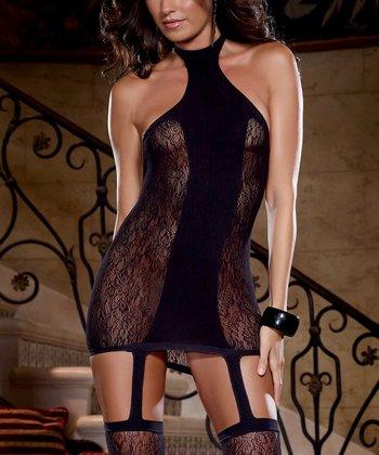 Black Lace Opaque Halter Garter Chemise - Women