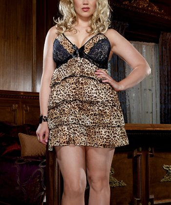 Brown Tiered Ruffle Leopard Babydoll & Thong - Plus