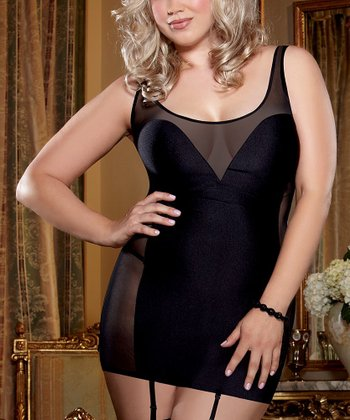 Black Sheer Panel Garter Slip & Thong - Plus