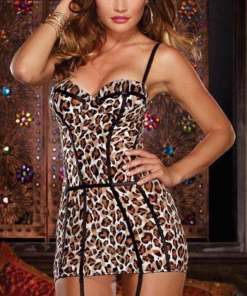 Brown Leopard Garter Slip & Thong - Women