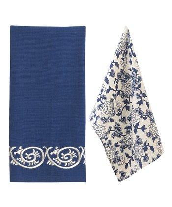 Split P Blue & White Mandarin Towel Set
