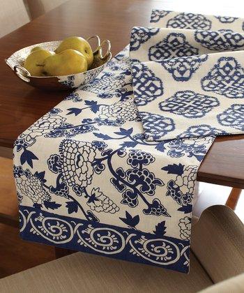 Split P Blue & White Mandarin Table Runner