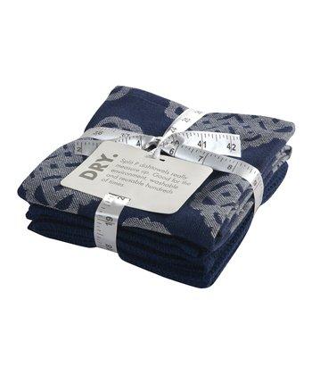 Split P Blue Mandarin Lapis Dish Towel - Set of Two