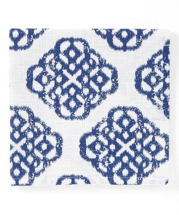 Split P Blue & White Geometric Mandarin Napkin - Set of Four