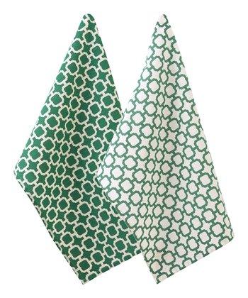 Split P Green & White Malachite Geometric Dish Towel - Set of Two