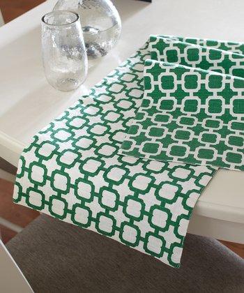Split P Green & White Malachite Geometric Table Runner