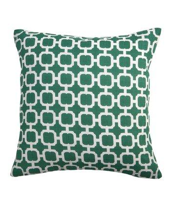 Split P Green & White Malachite Geometric Pillow