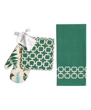 Split P Green Malachite Pot Holder & Towel Set