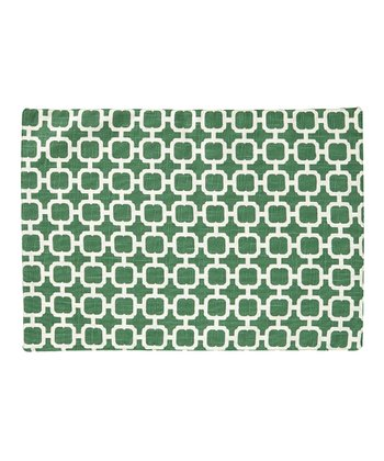 Cream & Green Malachite Reversible Place Mat - Set of Four