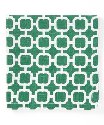 Split P Cream & Green Malachite Napkin - Set of Four