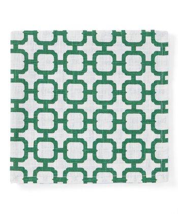 Split P Green & Cream Malachite Geometric Napkin - Set of Four