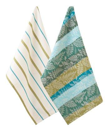 Split P Jacquard & Malachite Garden Stripe Towel Set