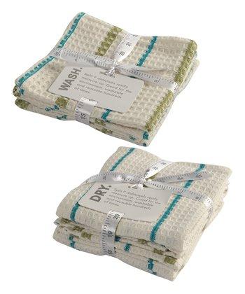 Split P Malachite Garden Waffle Dishcloth & Dish Towel Set