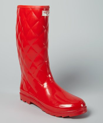 Red Quilted Rain Boot
