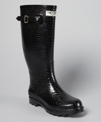 Black Croc Embossed Rain Boot