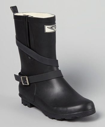 Black Mid-Rise Wraparound Rain Boot