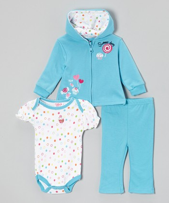 Turquoise 'Sweet Day' Bodysuit Set - Infant