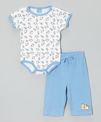 Sweet & Soft Blue Cow Bodysuit & Pants - Infant