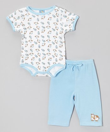 Sweet & Soft Light Blue Cow Bodysuit & Pants - Infant