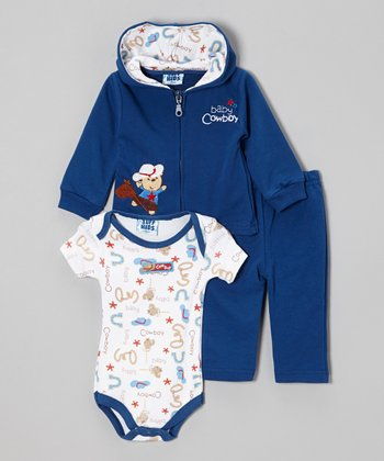Blue 'Cowboy' Zip-Up Hoodie Set - Infant