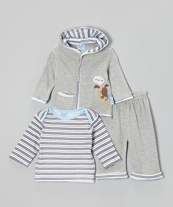 Cutie Baby Gray Puppy Jacket Set - Infant