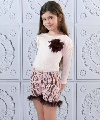 Pink & Brown Flower Top & Lace Shorts - Toddler & Girls