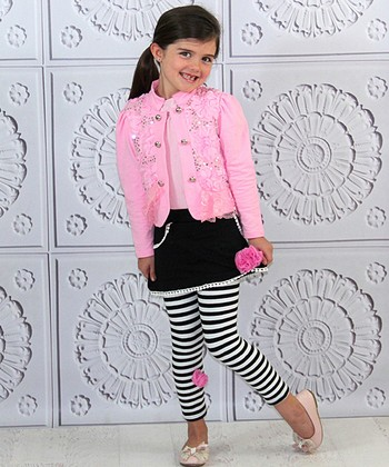 Mia Belle Baby Pink & Black Rose Jacket & Skirted Leggings - Toddler & Girls