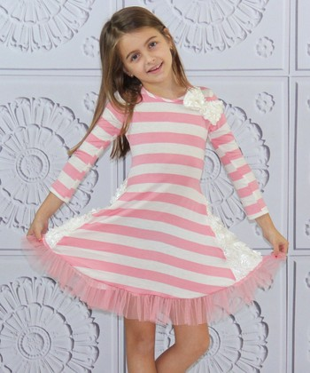 Pink & Crème Stripe Rose Panel Dress - Toddler & Girls