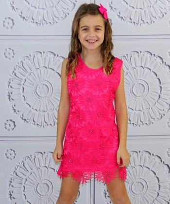 Mia Belle Baby Fuchsia Sunflower Shift Dress - Girls
