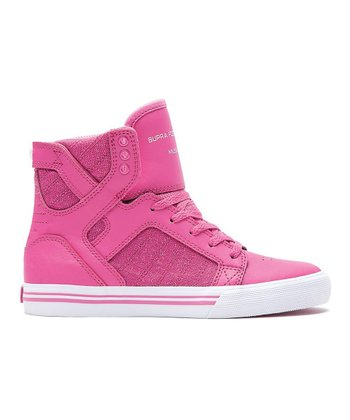 Crazy Pink & White Skytop Hi-Top - Kids