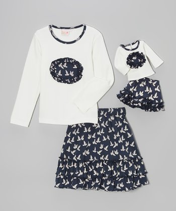 White & Blue Dove Skirt Set & Doll Outfit - Toddler & Girls