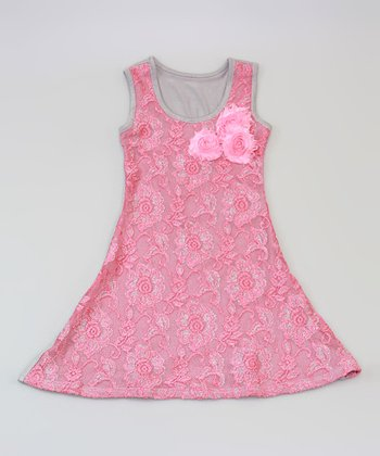Mia Belle Baby Gray & Hot Pink Lace A-Line Dress - Toddler & Girls