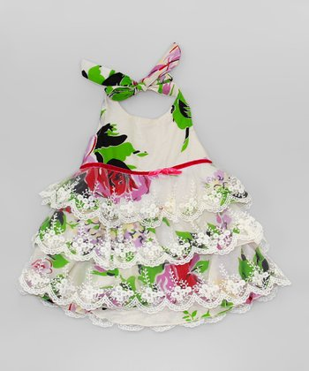 Mia Belle Baby White & Green Floral Lace Tiered Dress - Girls