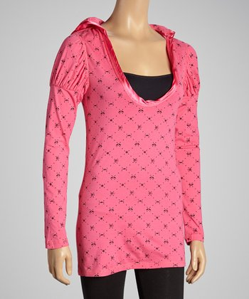 Fuchsia Hooded Puff-Sleeve Tunic - Women