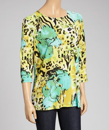 Blue & Yellow Leopard Scoop Neck Top - Women