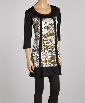 Black & Brown Abstract Scoop Neck Tunic - Women