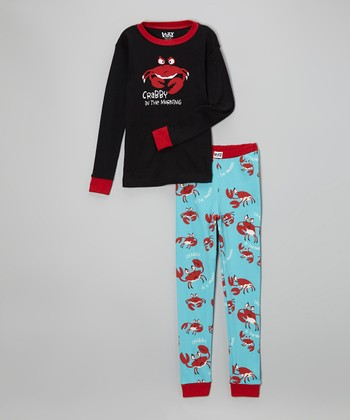 Red 'Crabby in the Morning' Pajama Set - Toddler & Kids