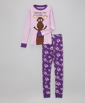 Purple 'I Moose Have a Hug' Pajama Set - Toddler & Girls