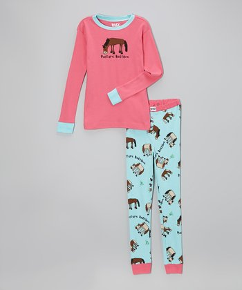 Pink & Aqua 'Pasture Bedtime' Pajama Set - Toddler & Girls
