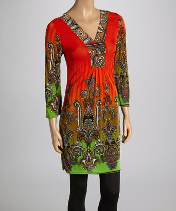 Orange Scroll V-Neck Tunic