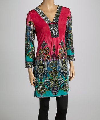 Plum Scroll V-Neck Tunic