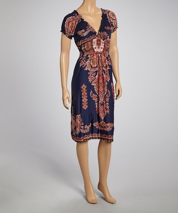 Navy Arabesque Peasant Dress