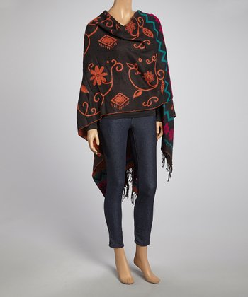 Black & Orange Floral Pashmina-Silk Blend Poncho